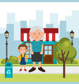 grandmother with grandson on the street vector image vector image