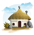 House with cactus and rocks under vector image
