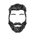human head with hairstyle mustache and beard vector image vector image