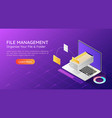 isometric web banner laptop transfer file and vector image vector image