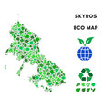 leaf green collage skyros greek island map vector image vector image