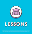 lessons colour icon with school backpack vector image vector image