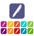 marker pen icons set flat vector image vector image