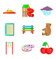 meeting children icons set cartoon style vector image