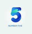 number five in trend shape style vector image