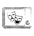 old tv with theater masks isolated icon vector image vector image