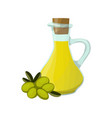 olive oil glass jug green olive fruits vector image vector image