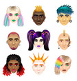 original youth people faces icons set vector image vector image
