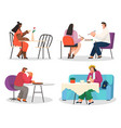 people eat in restaurant person has lunch in cafe vector image