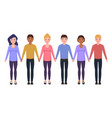 people hold hands characters in flat style vector image