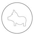 pig the black color icon in circle or round vector image vector image