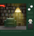 realistic home library room interior template vector image vector image
