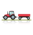 Red tractor with a trailer for transportation of vector image