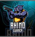 rhino gunner esport mascot logo design vector image vector image