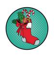 santa sock with candies christmas pop art vector image