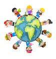 save earth concept with happy children vector image