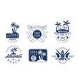 set blue contour logos for surf club vector image