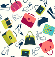 Set icons of Women bags and shoes vector image vector image