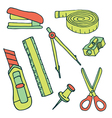 Set of sketch stationery items and school supplies vector image