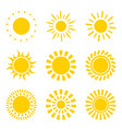 set of yellow sun icon symbols isolated on white vector image vector image