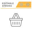 shopping basket editable stroke line icon vector image
