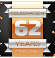 Sixty two years anniversary celebration golden and vector image vector image