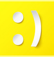 smile in paper style on yellow background vector image