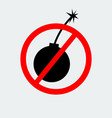 stop bomb sign icon vector image vector image