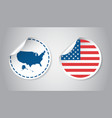 usa sticker with flag and map america label round vector image vector image