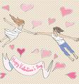 Valentine flying vector image