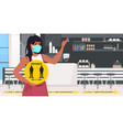 waitress in mask holding yellow sign keeping vector image vector image