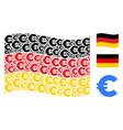 waving german flag mosaic of euro icons vector image