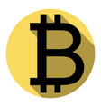 bitcoin sign flat black icon with flat vector image