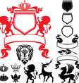 Set of heraldic silhouettes vector image