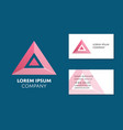 business card template with red triangle logo vector image