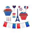 set of icons for french style party vector image