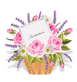 A basket full flowers with a card to write a
