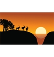 Antelope silhouette on the cliff vector image vector image