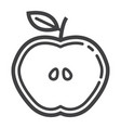 apple cut line icon food and drink half sign vector image vector image