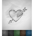 arrow in the heart icon Hand drawn vector image vector image