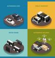 autonomous vehicles isometric design concept vector image vector image