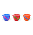 bucket plastic different colors vector image