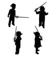 child silhouette with sword blade set vector image vector image