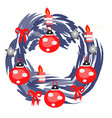 christmas wreath 2019 with red bow isolated on vector image