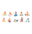 collection happy adorable babies playing vector image