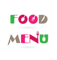 Creative food menu word logo elements vector image vector image