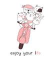 cute baanimals with motorcycles cartoon hand vector image vector image