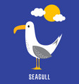 cute card with seagull vector image vector image