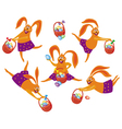 easter bunny with the basket vector image vector image