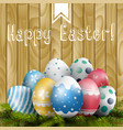 easter colored eggs on pine tree vector image vector image
